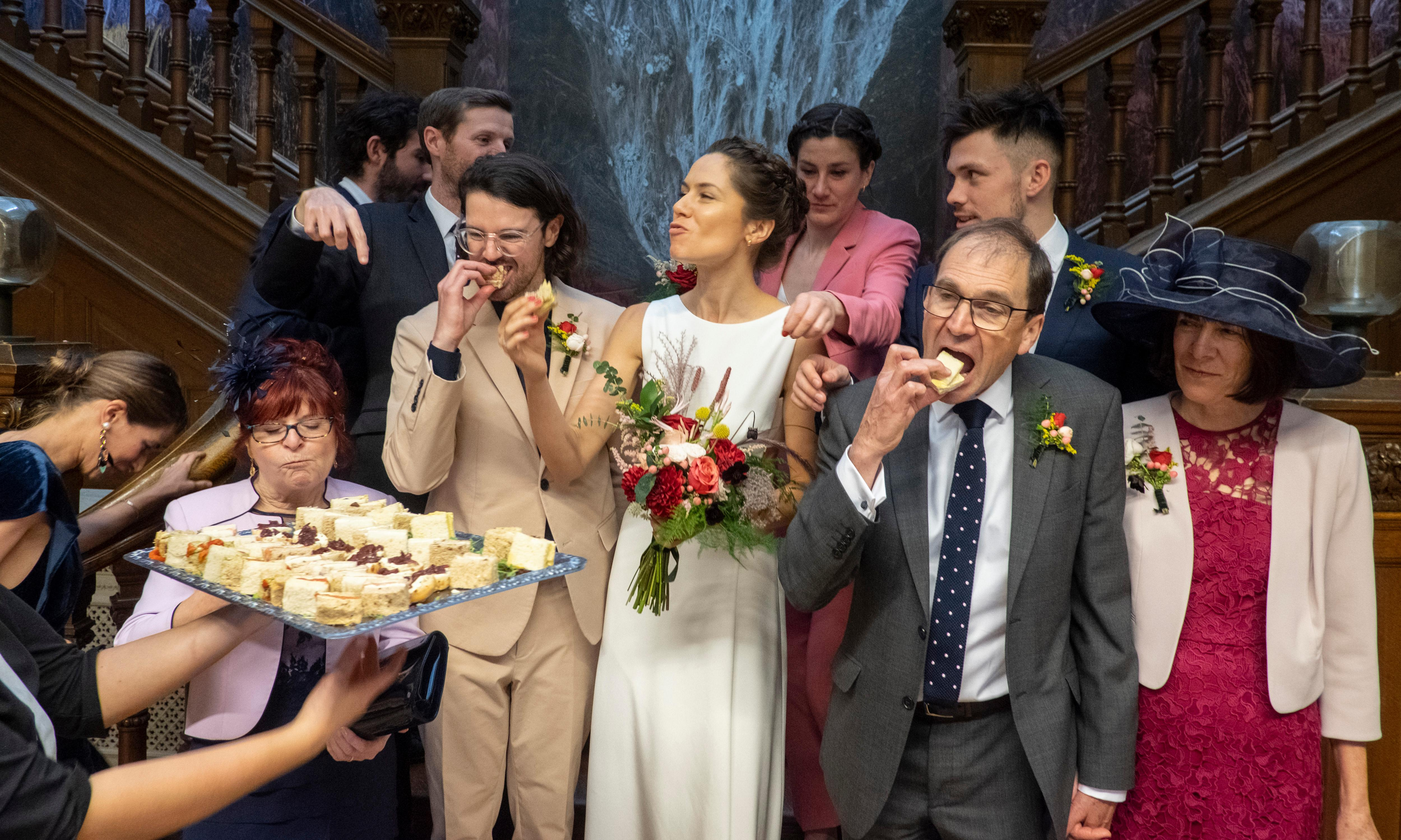 The big picture: funny faces and quick canapes on a couple's big day