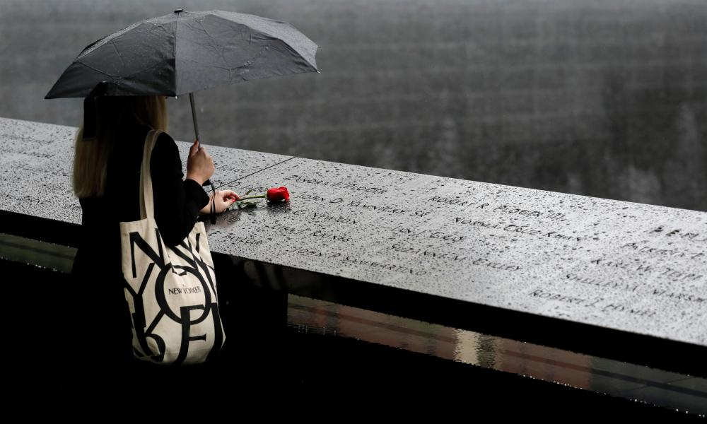 A visitor to the 9/11 memorial in Manhattan on the eve of the 20th anniversary of the attack.