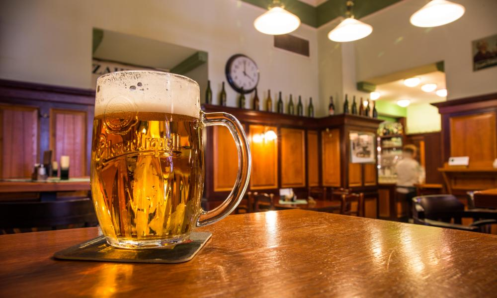 famous tavern, pub U Salzmannu, from where the fame of the famous Pilsner beer has taken its name, Pilsen, Czech Republic