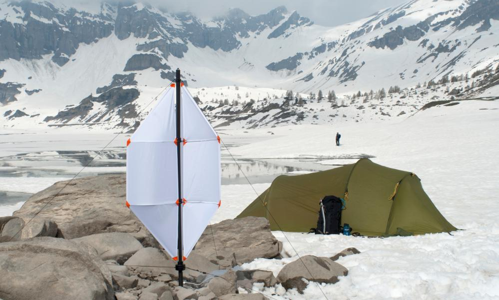 The portable folding wind turbine.