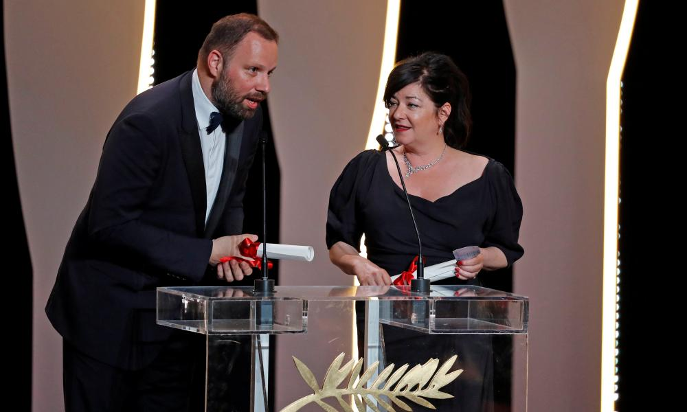 Yorgos Lanthimos and Lynne Ramsay accepting the joint best screenplay award for The Killing of a Sacred Deer and You Were Never Really Here.