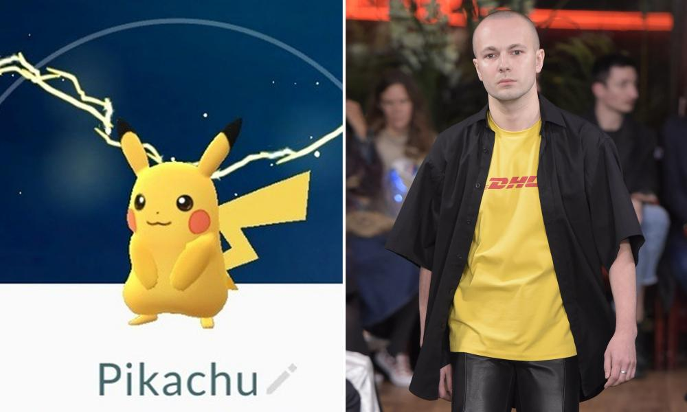 Pikachu: The everyman of the Pokémon world, Pikachus are fairly common. There was one just now outside Downing Street. Visually, he's a bit basic except he's not, because he's pre-referencing Vetements' corporate logo DHL chic, 2016's most referenced bit of kit.