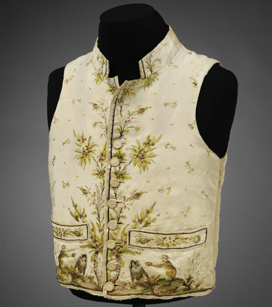 Men's silk macaque monkey-print waistcoat, 1780–89.