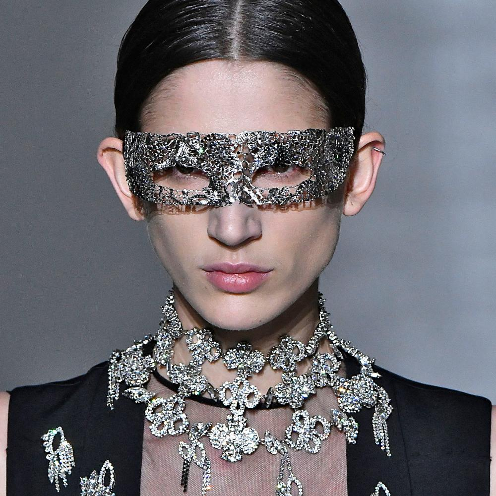 A silver eye mask at Givenchy