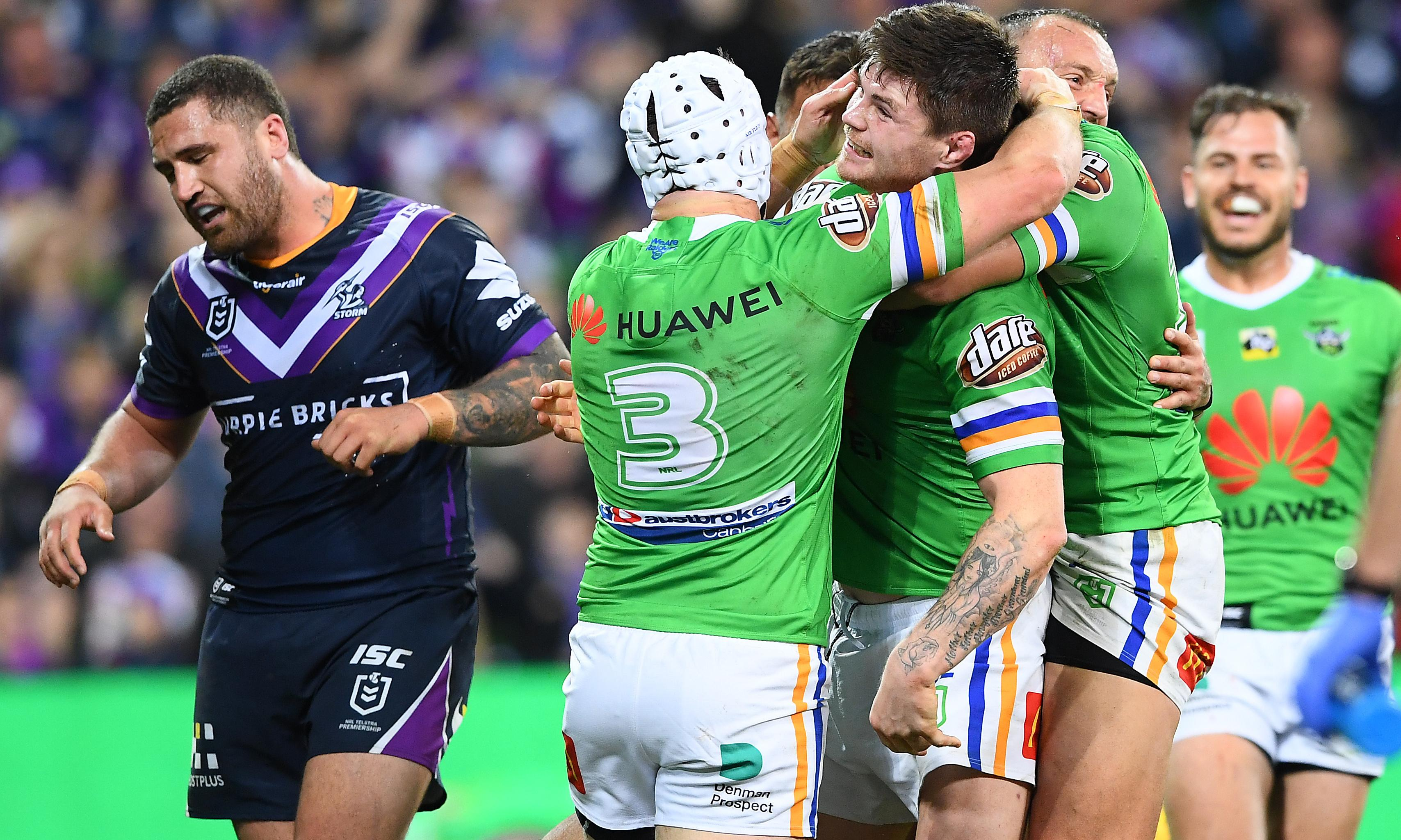 Canberra Raiders spook Melbourne Storm on NRL's weird weekend