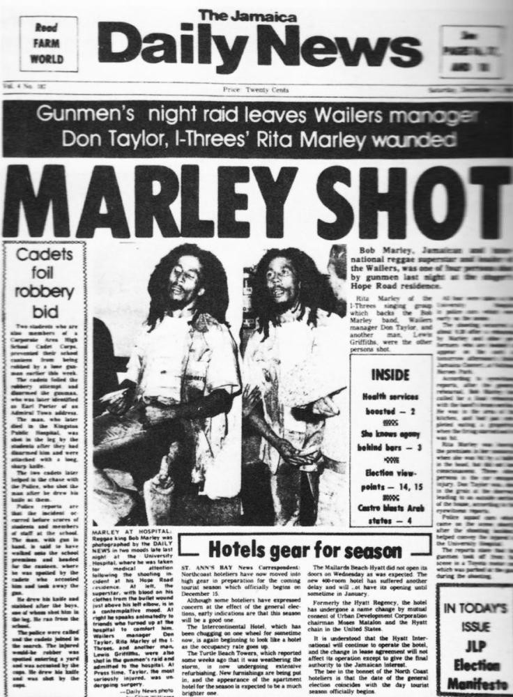 Jamaica Daily News, the day after Bob Marley was shot.