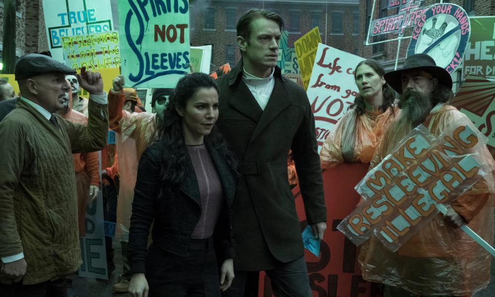 Martha Higareda and Kinnaman in the series.