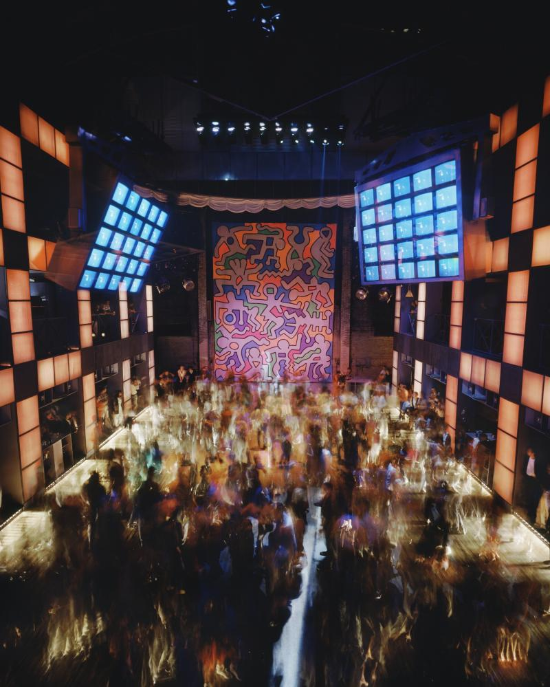 Video walls and 2,400 glass prisms … Palladium, New York, 1985.