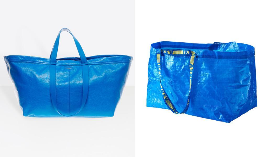 The Balenciaga shopper v Ikea's Frakta carrier.