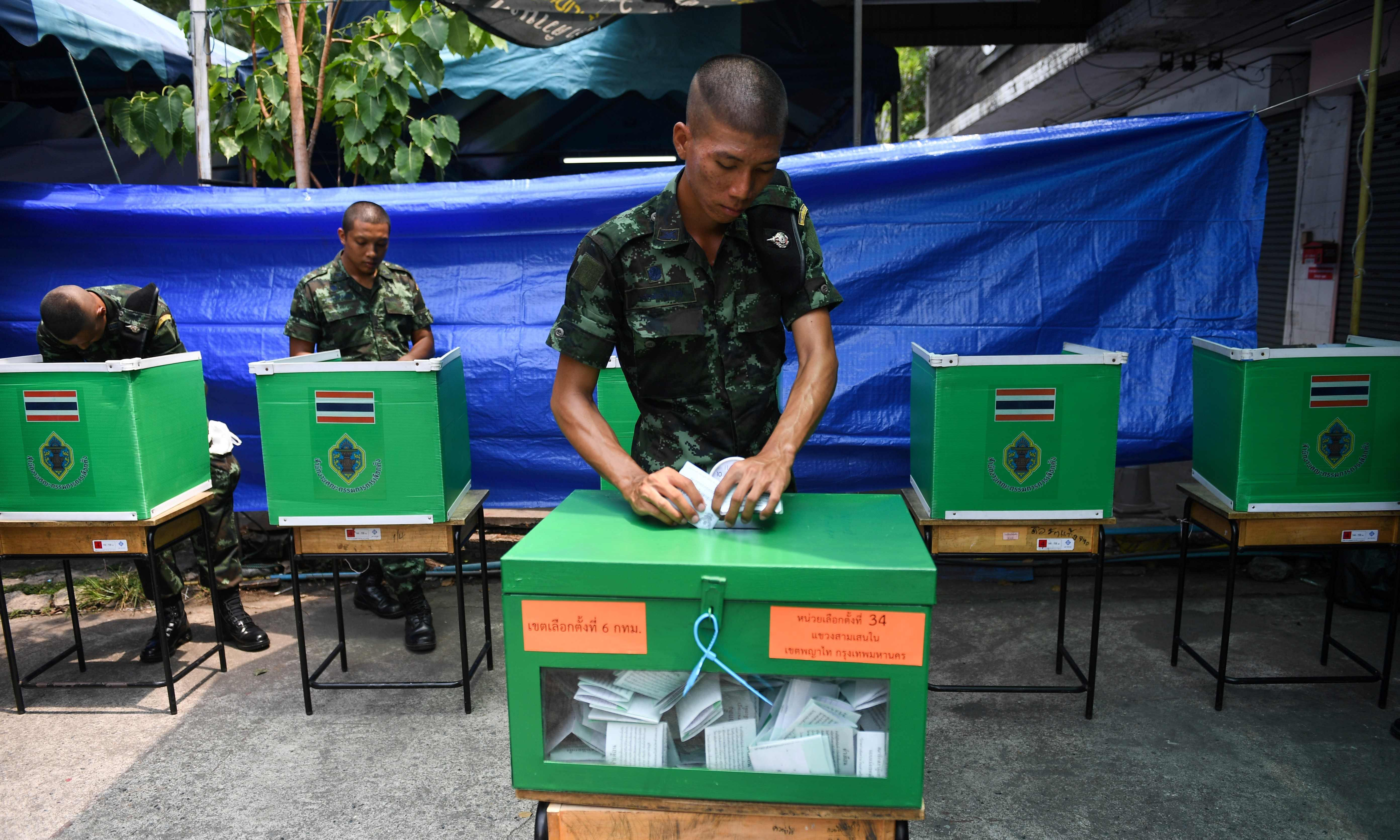 Pro-military party may edge Thailand election in blow to hopes of new era