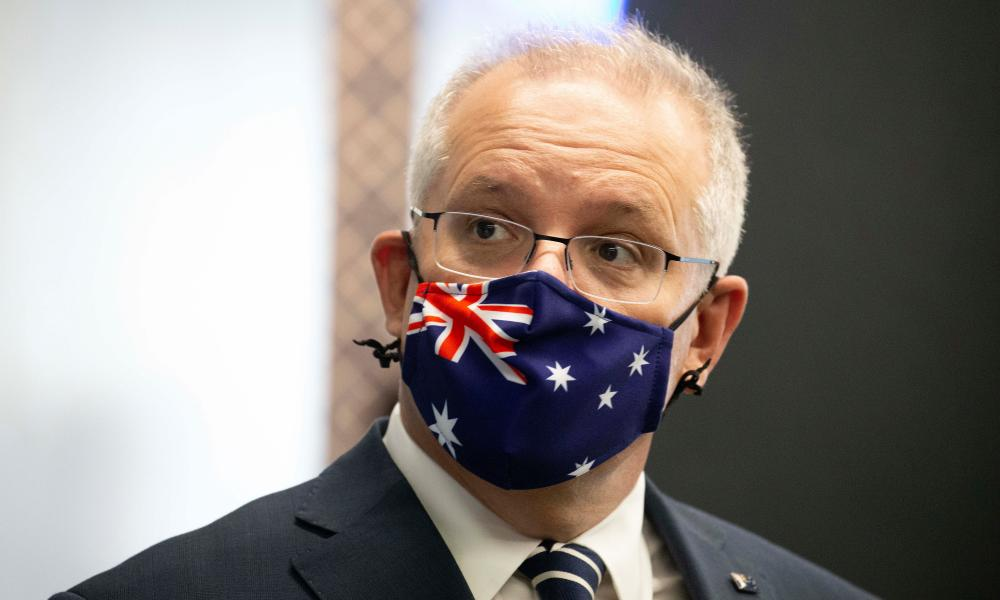 Australian Prime Minister Scott Morrison during a walk-through at the physiotherapy business at a visit to Upwell Health Collective in Camberwell, on November 16, 2020 in Melbourne, Australia. (Photo by Sarah Matray - Pool/Getty Images)