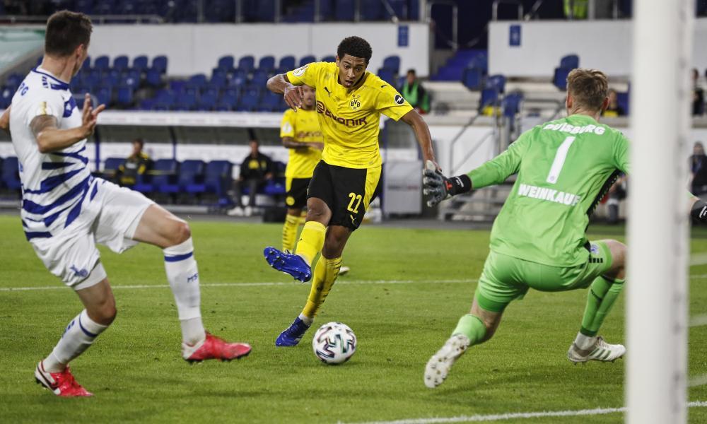 Jude Bellingham became Dortmund's youngest ever scorer against Duisburg on Monday.