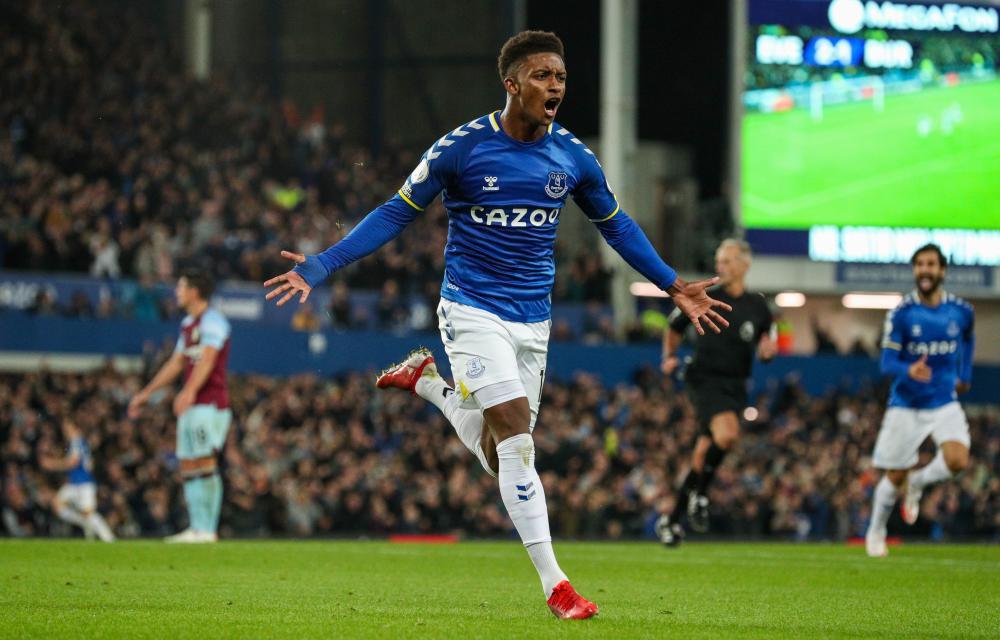 Demarai Gray celebrates scoring his side's third goal during the win over Burnley.