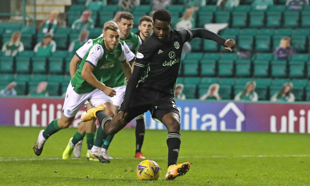 Celtic's Odsonne Edouard scores his side's first goal of the game from the penalty spot.