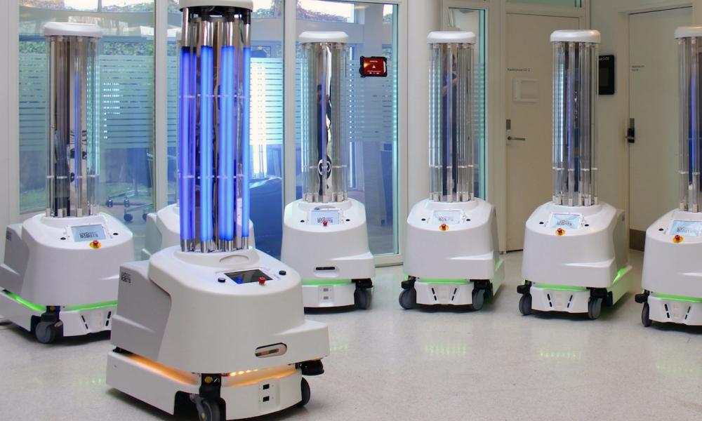 Danish UVD robots are helping to disinfect patients' rooms in the coronavirus pandemic.
