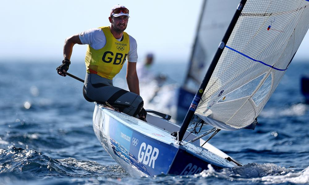 Giles Scott of Team Great Britain competes in the Men's Finn class on day nine of the Tokyo 2020 Olympic Games at Enoshima Yacht Harbour on August 01, 2021 in Fujisawa, Kanagawa, Japan. (Photo by Clive Mason/Getty Images)