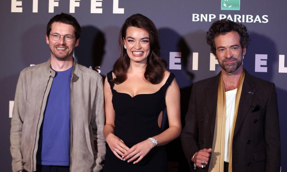 Pierre Deladonchamps, Emma Mackey and Romain Duris at the Eiffel film premiere in Paris.