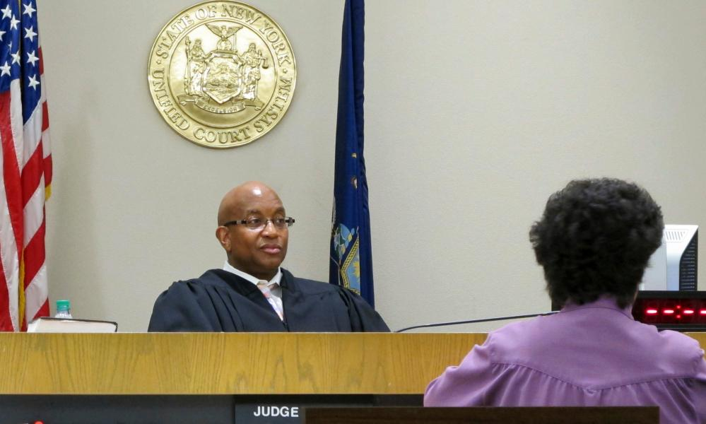 Judge Craig Hannah presides at Opiate Crisis Intervention Court in Buffalo, New York.