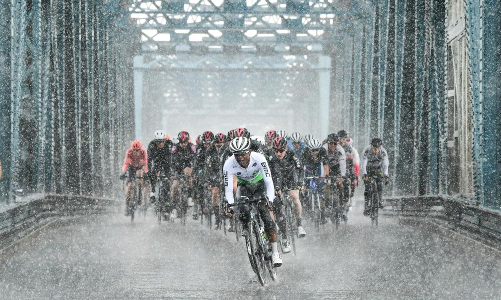 Nicholas Dlamini of Team Dimension Data leads the peloton over Boothferry Bridge on their way to Howden in the 2019 Tour de Yorkshire.