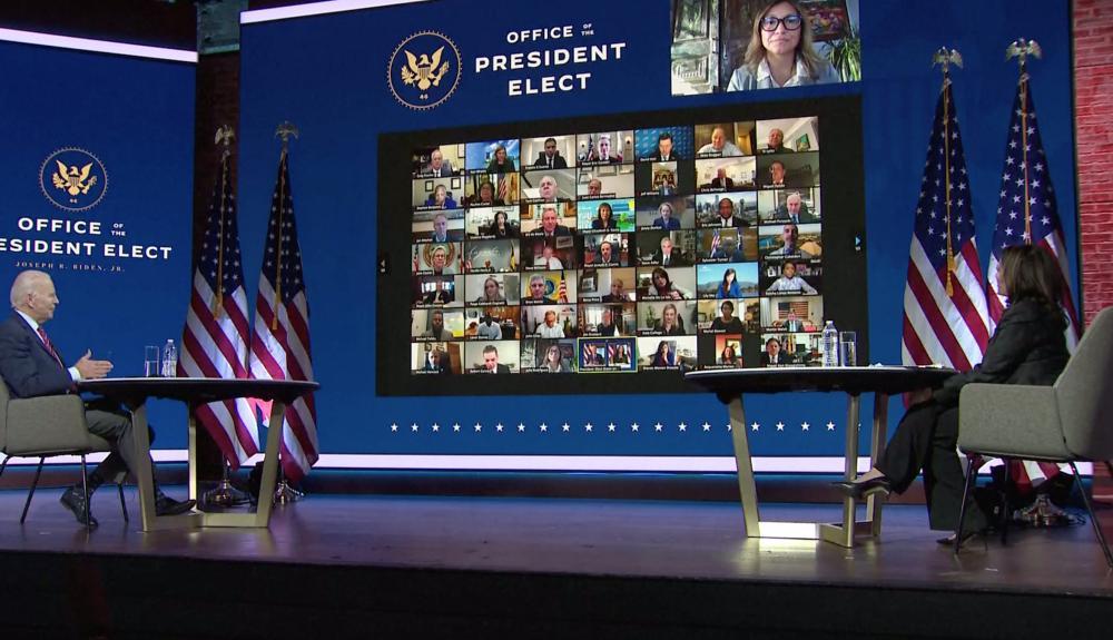 Joe Biden and Kamala Harris in virtual meeting with mayors.