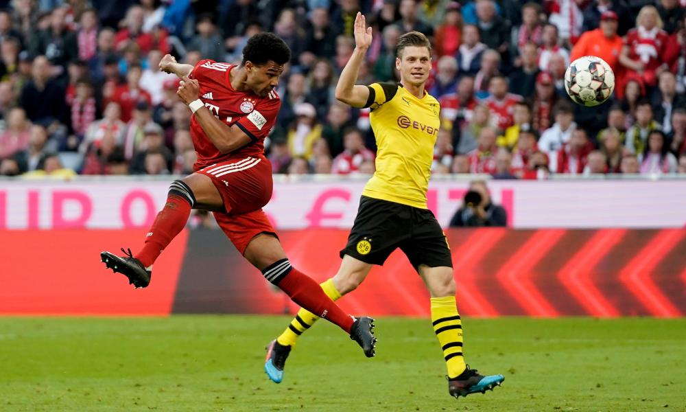 Serge Gnabry glances a header into the corner for the fourth.