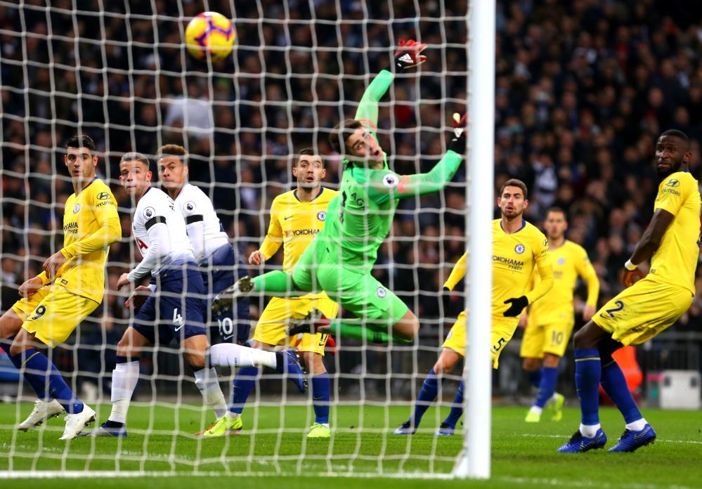 November 24: Dele Alli of Tottenham Hotspur scores his team's first goal against Chelsea at Wembley Stadium.