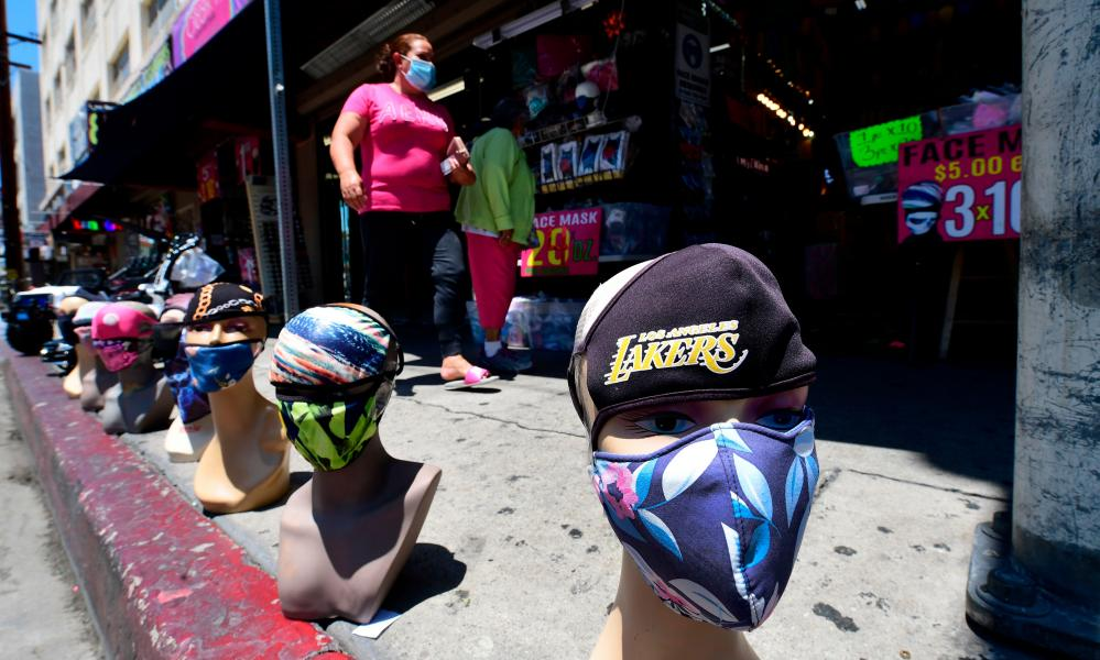 Face coverings for sale in Los Angeles, California. New regulations in some counties for certain businesses have come into effect again as coronavirus cases hit record highs in California.