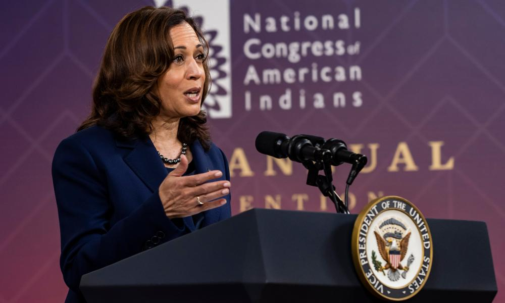 Kamala Harris delivers words at the National Congress of American Indians, which was held virtually.