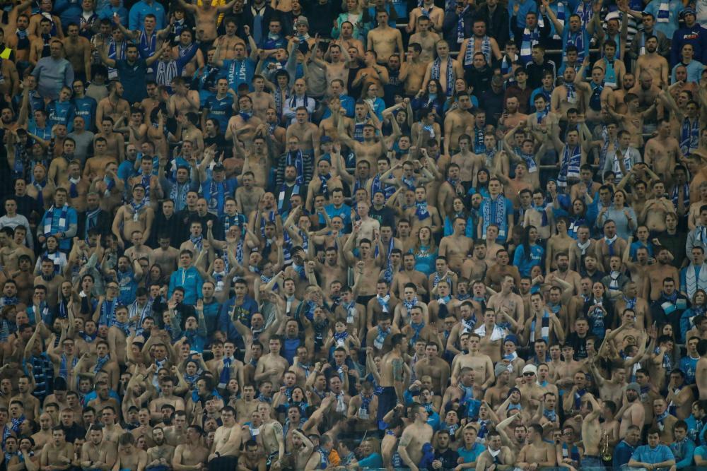 The Zenit fans enjoy the evening.