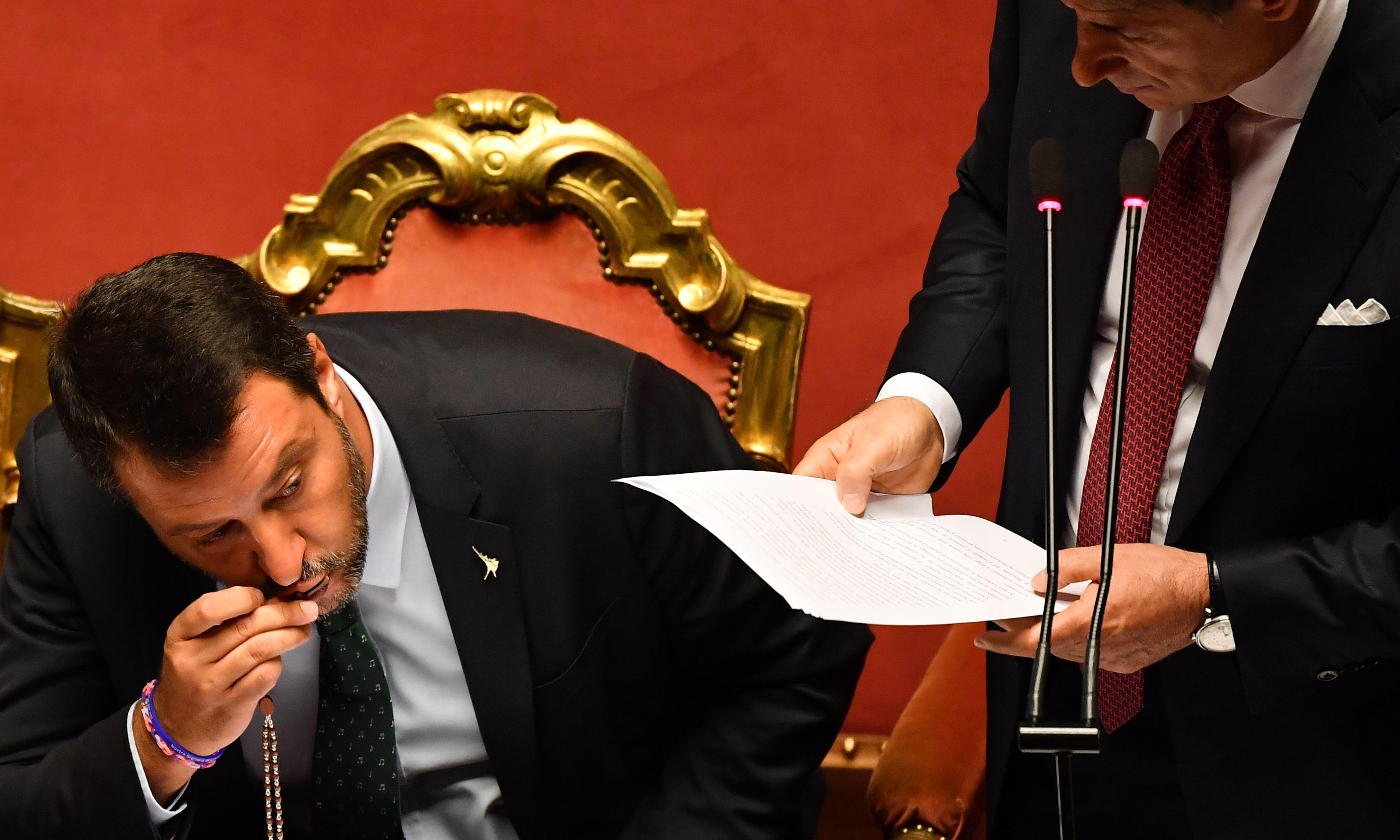 Italian PM resigns with attack on 'opportunist' Salvini