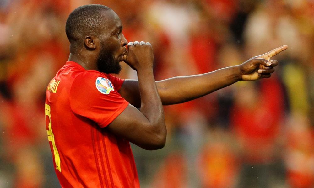 Belgium's Romelu Lukaku celebrates scoring their first goal.