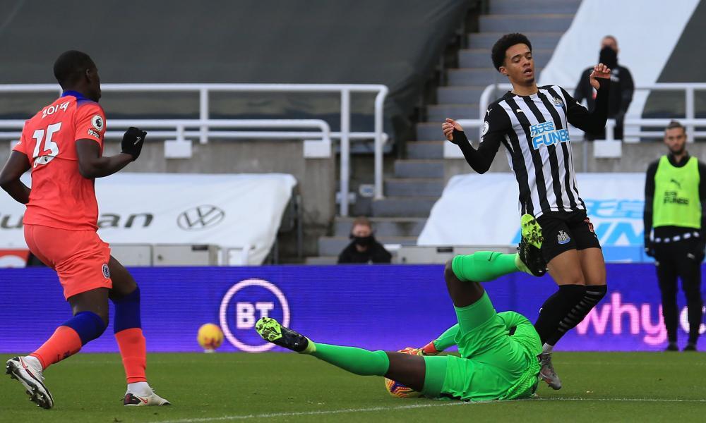 Newcastle United's Jamal Lewis is thwarted by Chelsea goalkeeper Edouard Mendy.