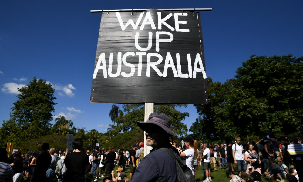 Protesters rally in Brisbane's Botanic Gardens on 21 August to rally against lockdown and Covid vaccinations.