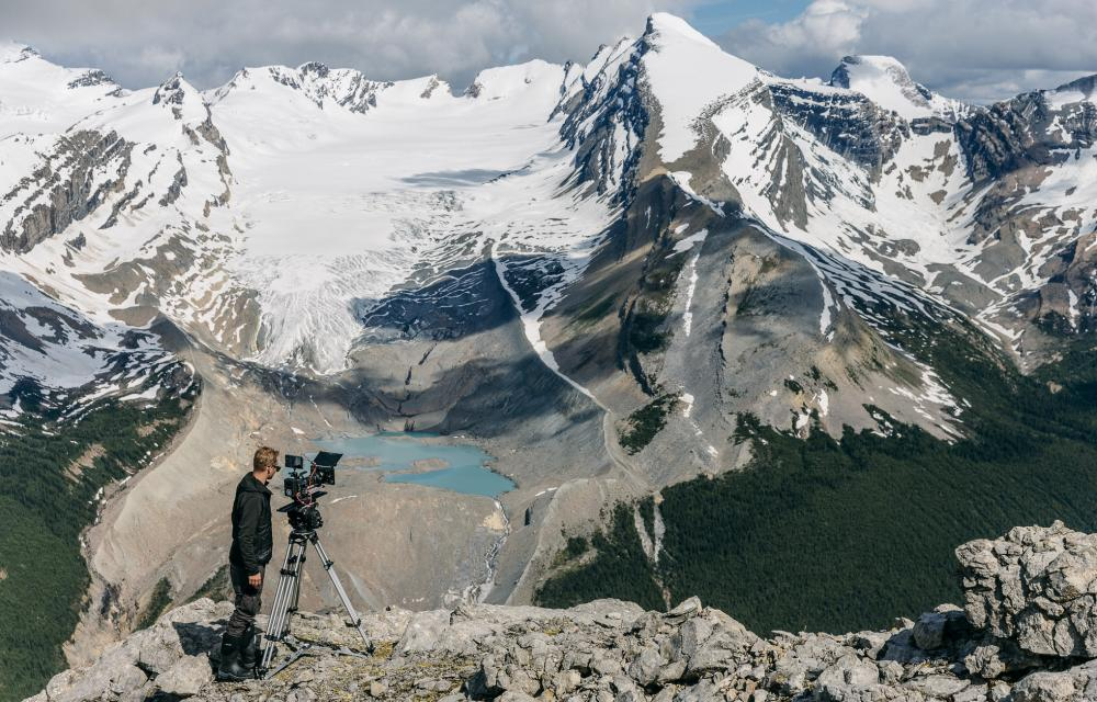 'Our cinematographers are also skilled alpine climbers, the best in the business' … a shot being set up.