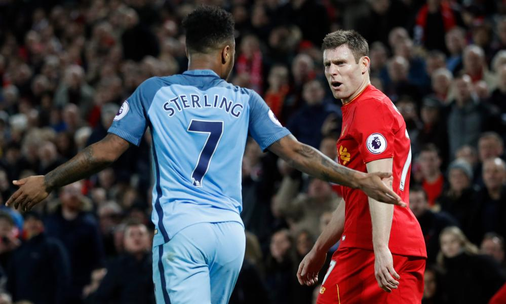 Raheem Sterling was all but marked out of proceedings by James Milner, right, when Manchester City lost at Anfield in December.