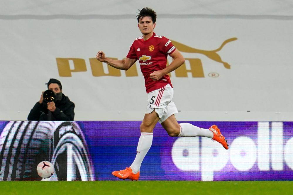 Harry Maguire scores and celebrates