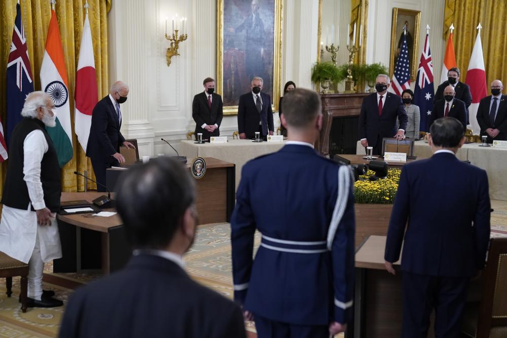 Joe Biden arrives to attend the Quad summit.