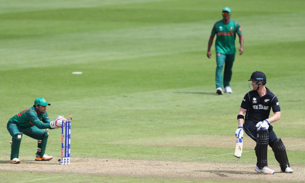 Jimmy Neesham of New Zealand is stumped by Mushfiqur Rahim off the bowling of Mosaddek Hossain.