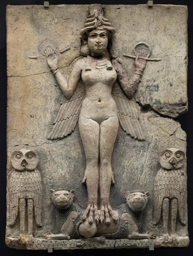 Mesopotamian terracotta plaque of a goddess, known as the Queen of the Night, British Museum.