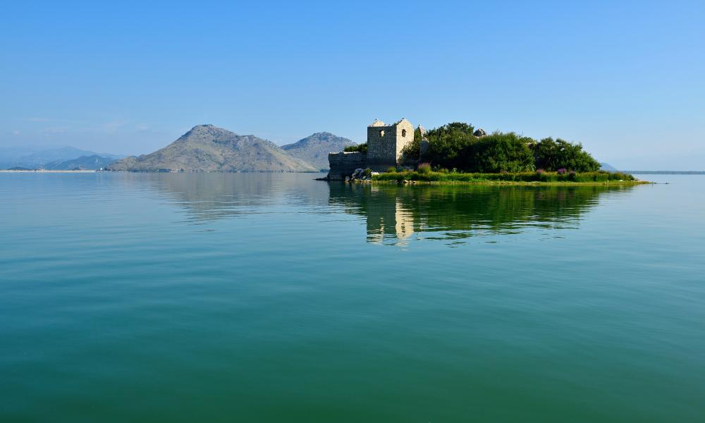 Ruin of an Ottoman fortress on Grmozur Island, Skadar Lake national park