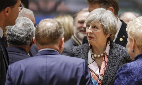 Theresa May, Lars Lokke Rasmussen, Dalia Grybauskaite at European People's Party leaders meeting, Brussels, Belgium - 09 Mar 2017