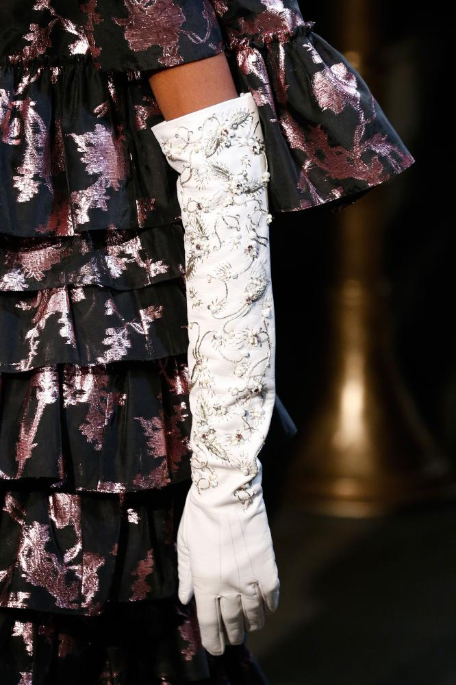 Queen-inspired gloves at the Erdem show.