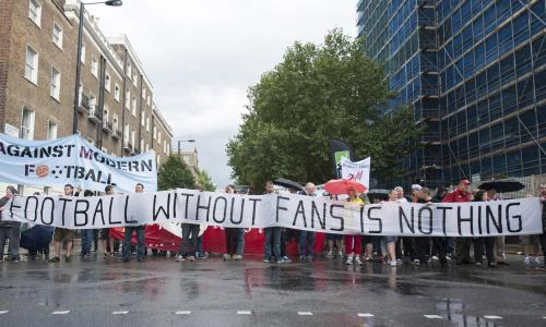 Fans march in London for Affordable Football for All, 14 Aug 2014, London. (Image:  Lee Thomas/ZUMA Wire)