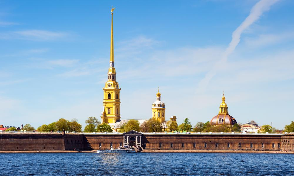 Peter and Paul Fortress pictured from across the Neva river.