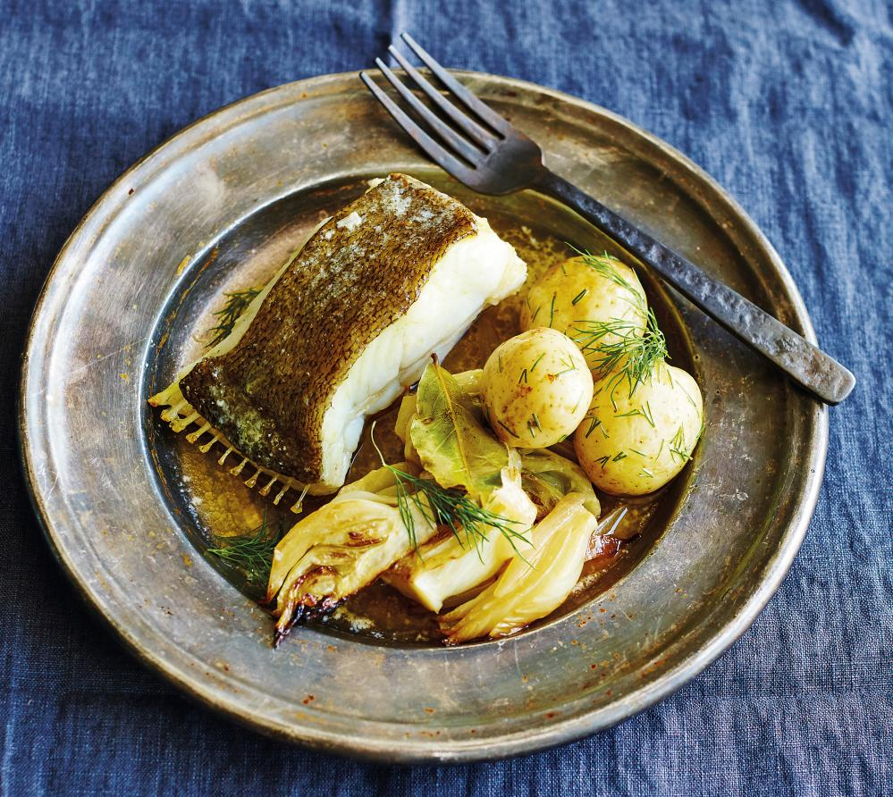 Braised brill steaks with fennel, garlic and white wine.