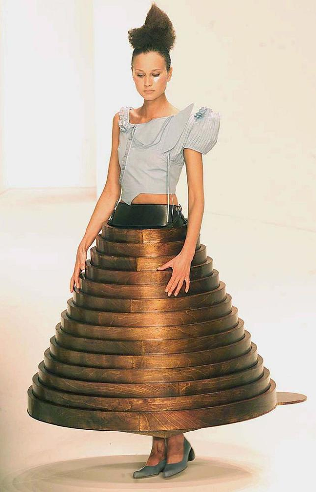 Hussein Chalayan's coffee table hooped skirt, London fashion week, February, 2000.