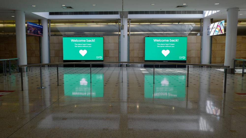 The empty arrivals hall of the Sydney International Airport.