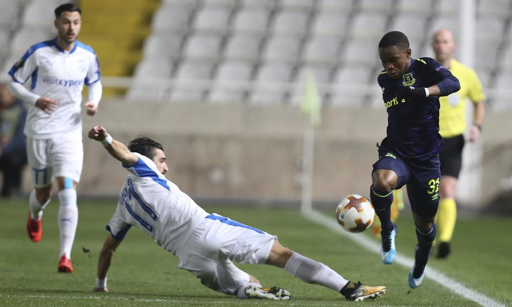 Everton's Ademola Lookman skips past the challenge of Apollon Limassol's Joao Pedro.