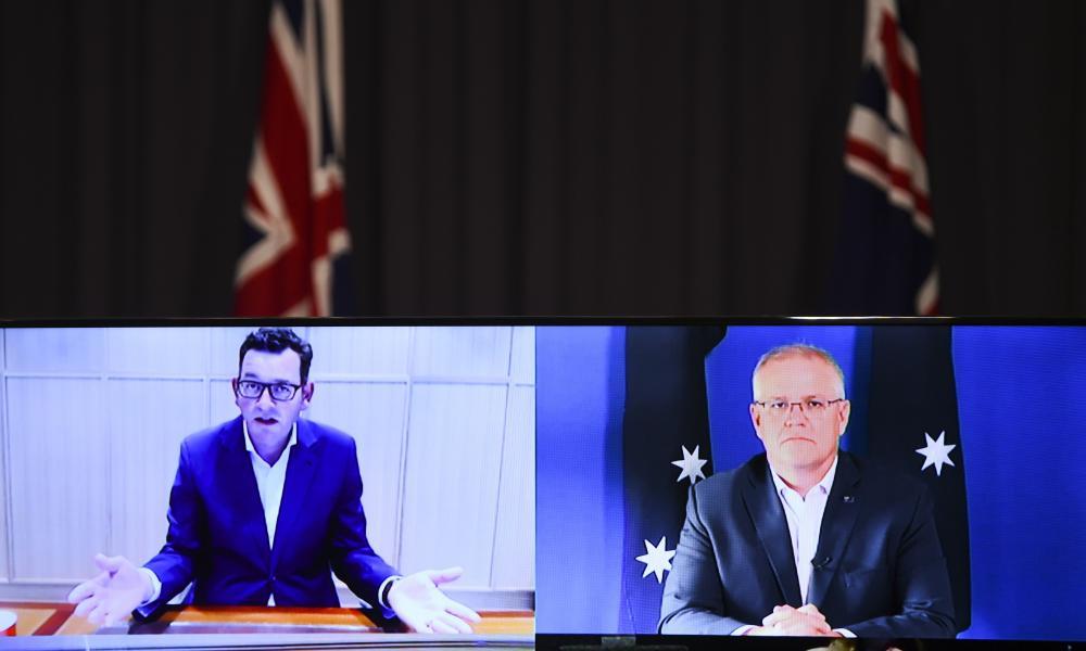 Victorian premier Daniel Andrews and Australian prime minister Scott Morrison speak to the media during a virtual press conference