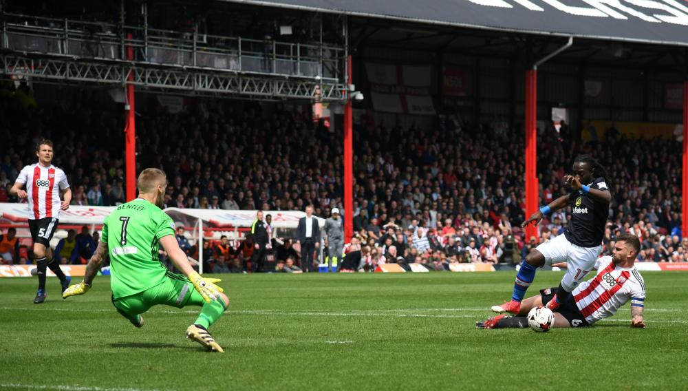 Harlee Dean fouls Marvin Emnes to concede the penalty.